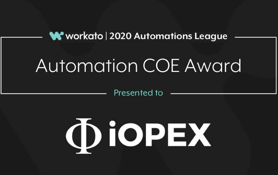 Iopex Technologies Receives 2020 Workato Partner Award Newsroom Banner